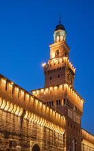 Sforza Castle At Night, Milan, Italy
