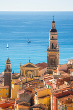 Elevated View Of The Coast And St. Michael The Archangel, Menton, France