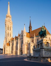 Exterior Of Matthias Church At Dawn, Fishermans Bastion, Budapest, Hungary