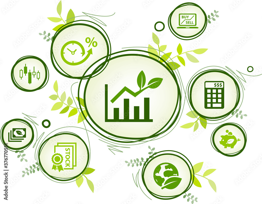 Fototapeta sustainable investing vector illustration. Concept with icons related to ethical investment, socially responsible or green investing, environmental consciousness in finance.
