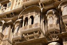 Low Angle Detail Of Patwon Ji Ki Haveli, Jaisalmer, Rajasthan, India