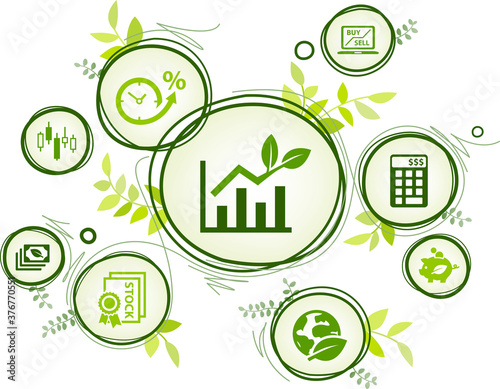 sustainable investing vector illustration. Concept with icons related to ethical investment, socially responsible or green investing, environmental consciousness in finance. - fototapety na wymiar