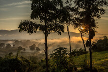 Sunrise Over Myanmar And Las And Ruak River, Golden Triangle, Chiang Rai, Thailand