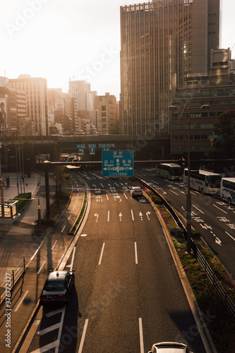 Busy traffic in city, Tokyo, Japan