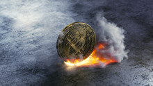 Close Up Of A Bitcoin On Fire