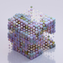 Large Cube Partially Composed Of Grid Of Small Cubes