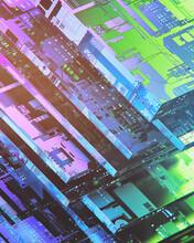 Macro 3D Rendering Up Of Glowing CPU
