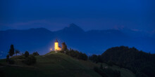The Church Of Saint Primoz On Hill At Night
