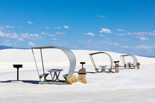 Picnic Tables With Shade Covers At White Sands National Monument