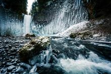 View Of Frozen Abiqua Falls In...