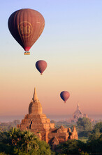 View Of Hot Air Balloons Over Temples Of Old Bagan