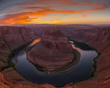 View Of Horseshoe Bend During Sunset