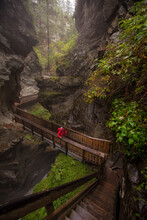 Hiker Walking On Wooden Bridge Through The Gorner Gorge