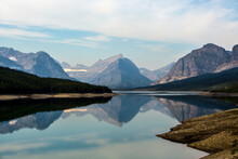 View Of Mountains And Swift Current Lake In Glacier National Park
