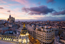 High Angle View Of Madrid City...