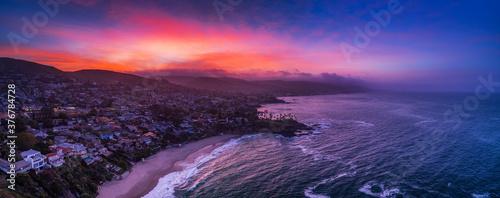 View of Laguna Beach city during sunset
