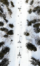 Overhead View Of Ski Lifts Ove...