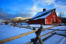 Red Barn In Bozeman, Montana