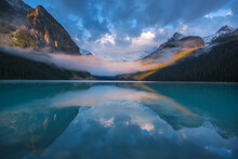 Scenic View Of Lake Louise Wit...