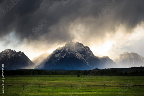 View of stormy clouds over Mount Moran in Grand Teton National Park - 376785517