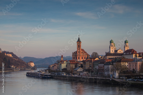 View of Passau city during sunset - 376785987