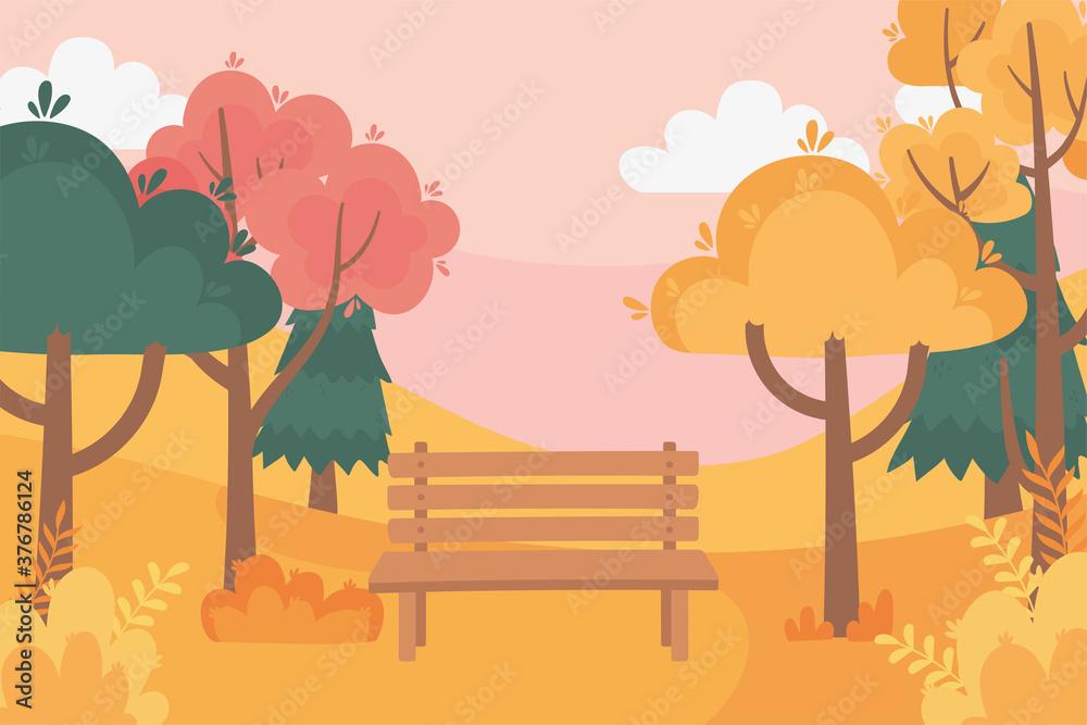 Fototapeta landscape in autumn nature scene, bench rural trees park bushes foliage