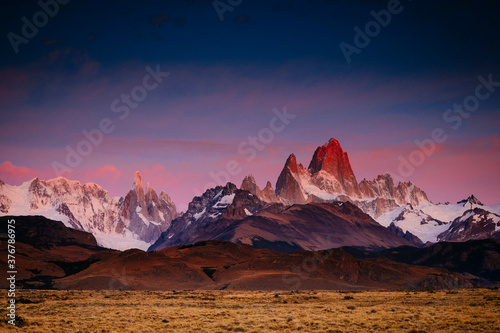 Scenic view of Cerro Torre and Mount Fitz Roy during sunset