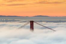 Morning Fog Over Golden Gate Bridge In California
