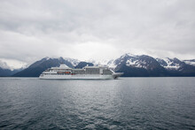 View Of Cruise Ship Sailing In Sea In Kenai Fjords National Park