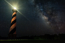 Scenic View Of Milky Way Galaxy Shining Bright Over Cape Hatteras Lighthouse, North Carolina, USA