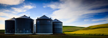 View Of Grain Silos Of Farm In Palouse Of Washington State, USA