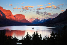 View Of Saint Mary Lake And Wild Goose Island During Sunrise