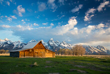 View Of Barn Against Mountain ...