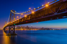 View Of Bay Bridge With City In Background, San Francisco, USA
