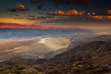 View Of Badwater Basin And Telescope Peak In Death Valley National Park During Sunrise