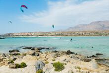 Scenic View Of Kite Boarders O...