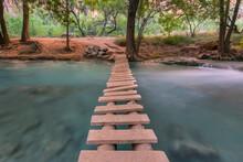 View Of Small Footbridge Over Havasu Creek