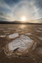 Sun Dog Halo Over Salt Flat In...