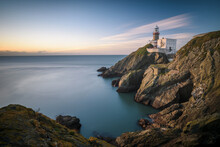 Scenic View Of Howth Lighthouse Against Sky At Dusk