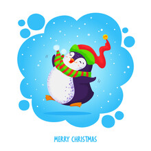 Little Cute Chubby Jumping Penguin In An Elven Hat And Striped Scarf. Merry Christmas Greetings. Hand Drawn Vector Illustration.