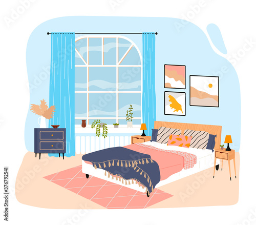 Fotografija Interior room in house, bedroom with large bed, blanket and pillows, design cartoon style vector illustration, isolated on white