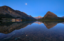 Scenic View Of Glacier National Park At Dusk