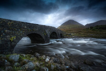 View Of Sligachan Old Bridge At Dusk