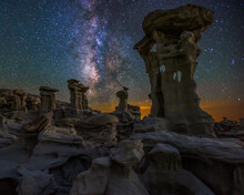 Scenic View Of Milky Way Over Rock Formations In Bisti Badlands