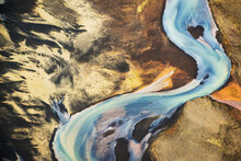 Aerial View Of Glacial River