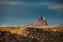 Scenic View Of Shiprock Against Sky During Sunset