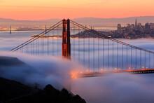 Fog Over Golden Gate Bridge During Sunrise