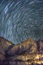Yosemite Falls Against Star Tr...