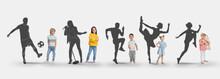 Childhood Dreams. Little Kids Against Silhouettes Of Soccer Player, Singer, Runners And Ballet Dancer