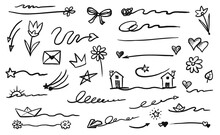 Emphasis Element. Doodle Hand-drawn Emphasis Element Isolated Set Illustration. Vector Ink Paper Airplane And Boat, Heart And Flower, Star And Flower, Arrow And Signature, House And Crown Drawing